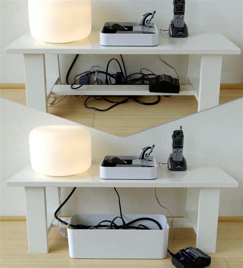 cache cable pour bureau boîte cablebox cache câbles l 40 cm blanc bluelounge