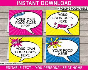 Girl superhero party food labels place cards party for Food label template for party