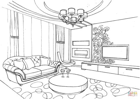 disegni da colorare riverdale living room with ornament coloring page free printable