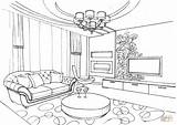 Coloring Living Ornament Drawing Interior Printable Colouring sketch template