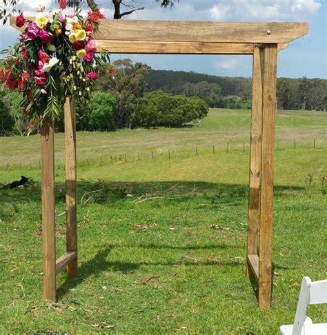 rustic wedding arch melbourne   wood wedding