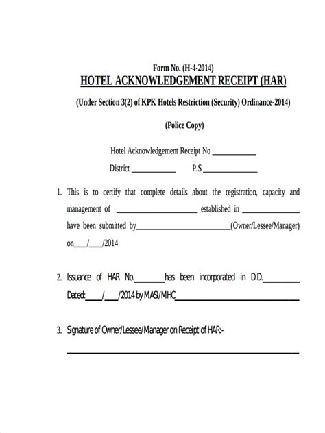 hotel receipt examples samples  google docs