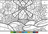 Number Coloring Supercoloring Pages Numbers Windmill Sheets Paint Bouncy Castle Camp Summer sketch template