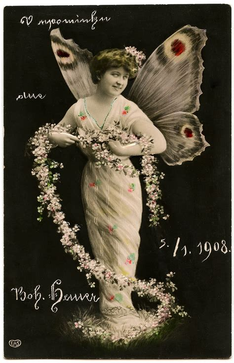 Vintage Butterfly Fairy Lady Photo The Graphics Fairy