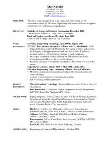 sle entry level resume for electrical engineering electrical engineering cv sle