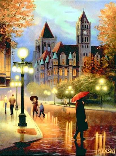 Street Rainy Painting Architecture Gothic Walking Cross