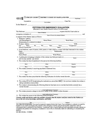 md petition emergency fill  printable fillable