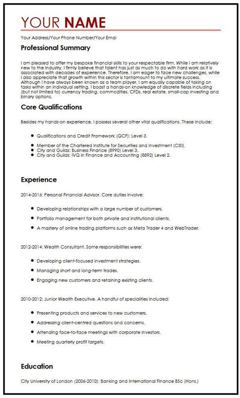 How To Write A Professional Cv Sles by Professional Cv Exle Myperfectcv