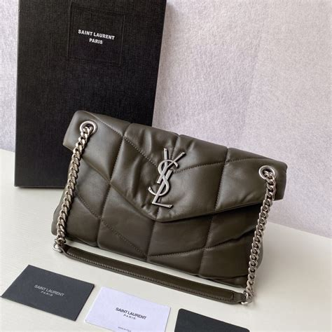 yves saint laurent loulou puffer small bag  quilted lambskin  anemone green