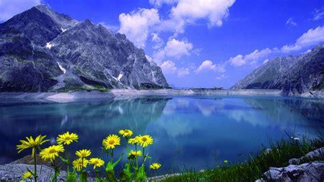 Landscape Lake Mountains Rock Flowers Wallpapers Hd 89352