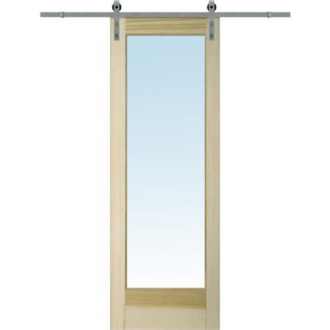single barn door mmi door 32 in x 96 in clear 1 lite unfinished poplar