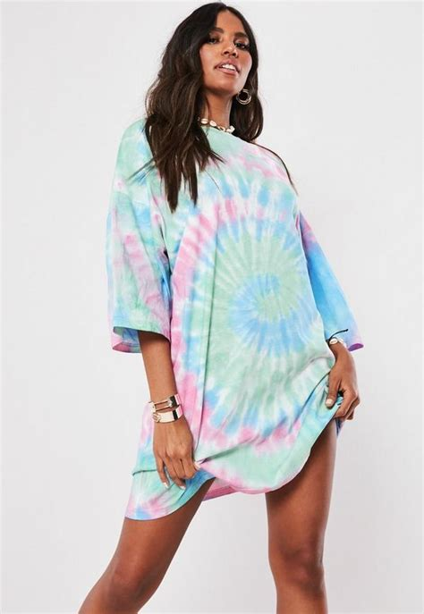 petite pink tie dye  shirt dress missguided