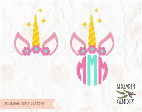 unicorn  flower crown unicorn circle monogram frame  svg  dxf png formats cricut
