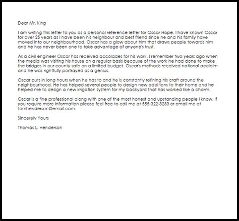 personal reference letter  letter samples templates