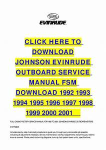 Johnson Evinrude Outboard Service Manual Fsm Download 1992