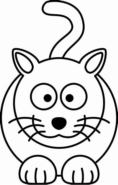 Cartoon Cat Coloring Drawing Line Colouring Clip