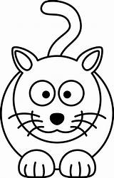 Cartoon Cat Coloring Drawing Line Colouring Clip Clipart Vector Clker Lemmling Px Shared sketch template