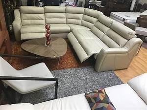 kuka sectional sofa leather recliner beige leather With kuka sectional leather sofa