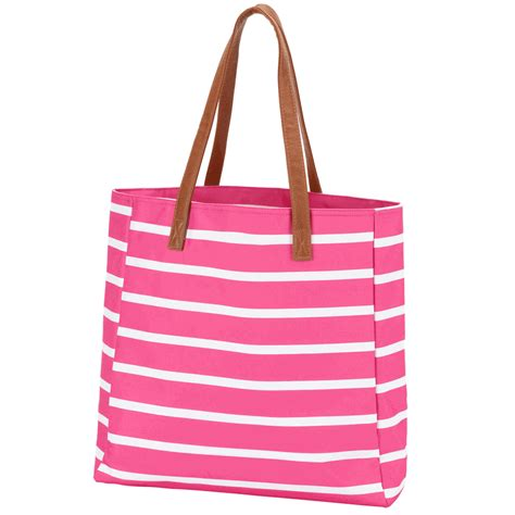 embroidered tote bag stripe mint pink