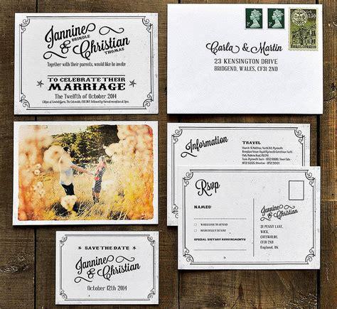 postcard invitation vintage photo postcard wedding invitation by feel wedding invitations notonthehighstreet