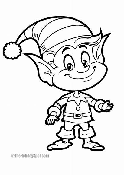 Christmas Coloring Elf Fun Smiling Theholidayspot