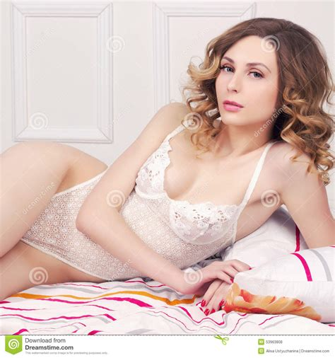 Girl In Underwear In The Bed Stock Photo Image 53963808