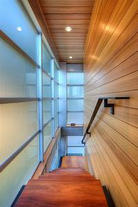 Way To Upper Floor Interior Design Among Wooden Wall Also