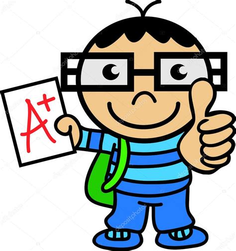 Clever Student Thumb Up — Stock Vector © Rubiocartoons