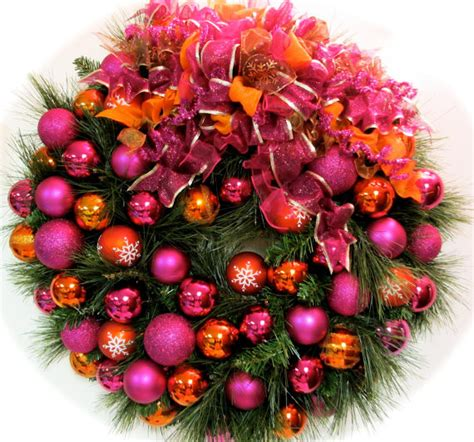 outdoor christmas wreath ideas bright christmas wreath pink and orange by sandy newhart designs eclectic wreaths and