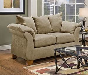 Modern camel tone plush upholstered sofa and loveseat set for Plush couch and loveseat