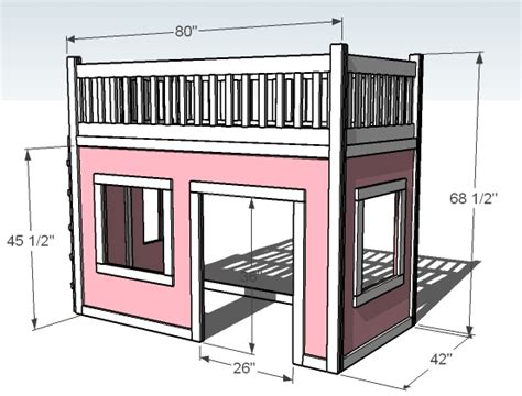 Loft Bed Plans by White Playhouse Loft Bed Diy Projects