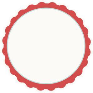 Red ivory aqua Scallop Circle Frame clip art Circle