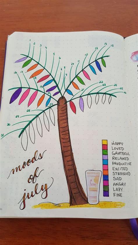 palm tree mood tracker july summer bullet journal