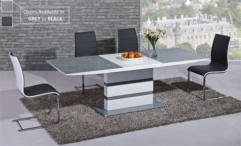 table and 8 chairs extending grey glass white high gloss dining table 8 chairs