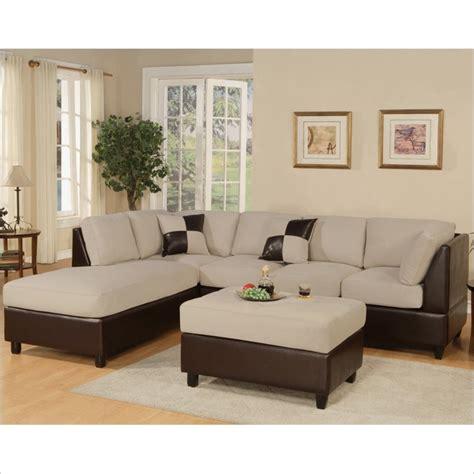 Poundex Microfiber Sectional Sofa by Poundex Bobkona Hungtinton Microfiber Faux Leather 3
