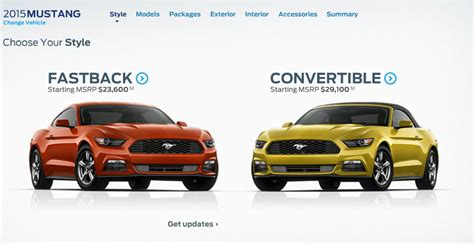 ford mustang configurator   includes pricing