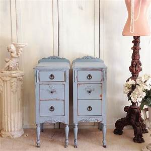 Shabby, Blue, Painted, Nightstands, The, Shabby, Chic, Furniture
