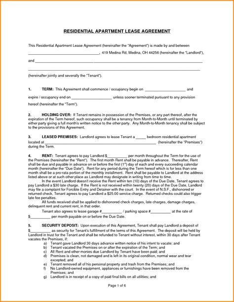 lease for apartment brucall
