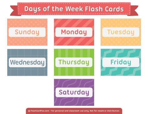 printable days   week flash cards flashcards
