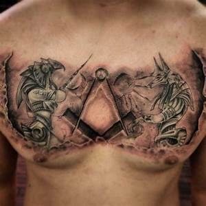 Egyptian Gods Tattoo on Chest | Best Tattoo Ideas Gallery