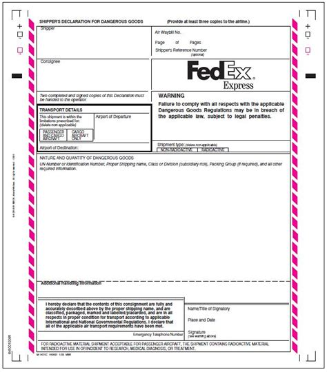fedex customs declaration form proposal letter