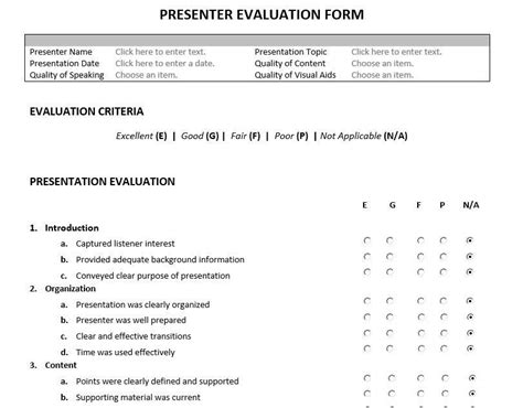 Presenter Evaluation Form Template by Presenter Evaluation Form Feedback Form For Speakers And