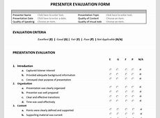Presenter Evaluation Form Feedback Form for Speakers and