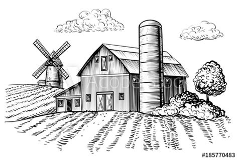 Rural Landscape, Farm Barn And Windmill Sketch. Hand Draw