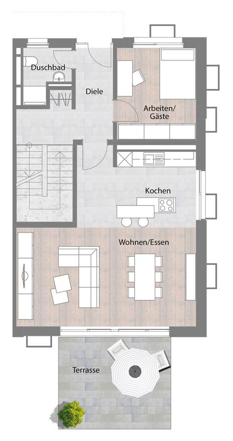 Kleines Einfamilienhaus Grundriss by Doppelhaush 228 Lfte Typ B Erdgeschoss Mit Terrasse 73 60