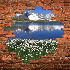 Tableau Trompe L Oeil Paysage : sticker mural trompe l 39 oeil paysage montagne art d co stickers ~ Melissatoandfro.com Idées de Décoration