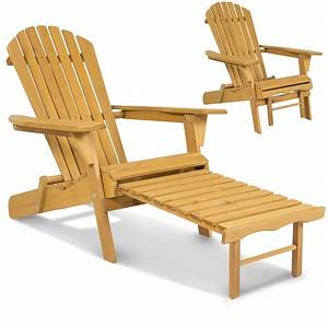 Outdoor Wood Adirondack Chair Foldable w/ Pull Out Ottoman