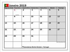 Calendário de janeiro de 2019, Portugal Michel Zbinden pt