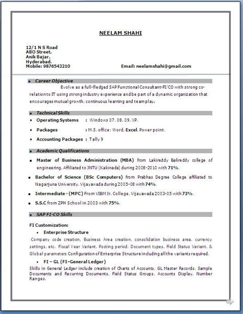 years experience resume format sample resume format