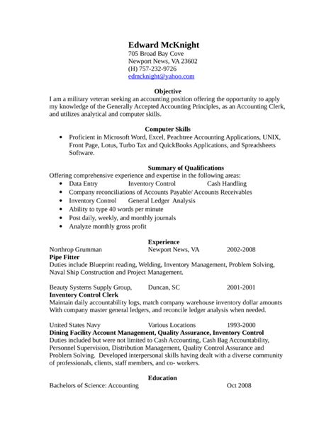 professional accounting clerk resume template